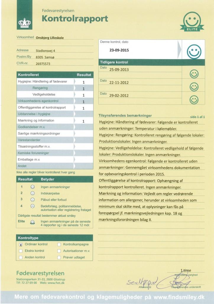 Kontrolrapport_Fødevarestyrelsen 23Sep2015